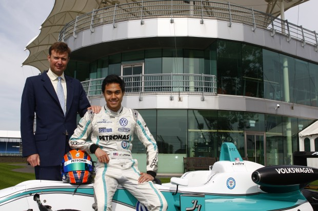 Jazeman Jaafar and Stuart Pringle, BRDC, outside the BRDC Clubhouse at Silverstone Circuit